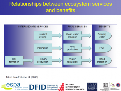 "Slide from ""An ESPA perspective on ecosystem services"" by Caroline Howe"