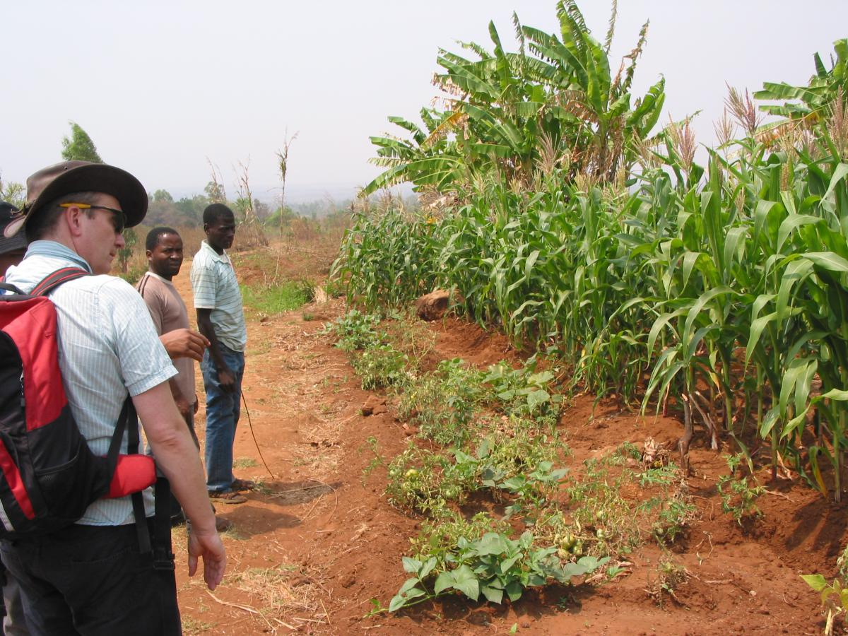 ESPA ASSETS PI, Guy Poppy, on a transect walk led by local villagers (Photo: Malcolm Hudson)