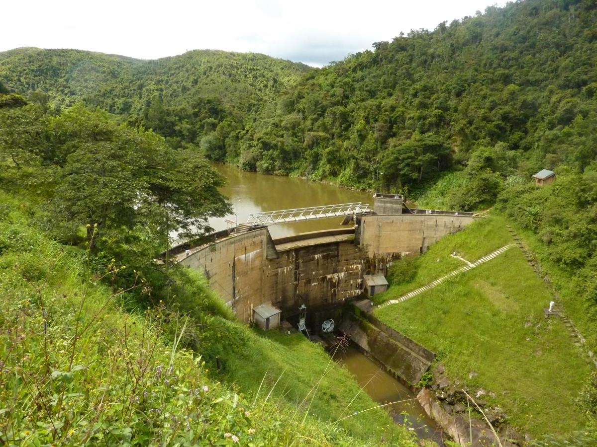 The Mandraka hydro-electricity dam on the high plateau is surrounded by forest, but higher up in the catchment land is highly degraded